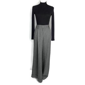 Gray Wide Leg Pants High Waist Cuffed Trousers